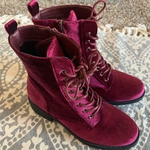 Maroon Velvet Boots